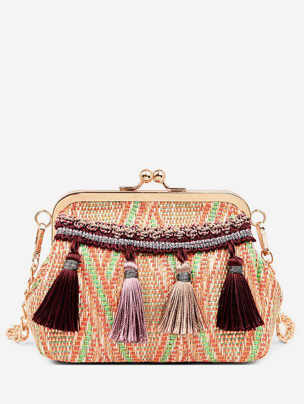 Outfits Leisure Shell Shaped Straw Tassels Decoration Crossbody Bag