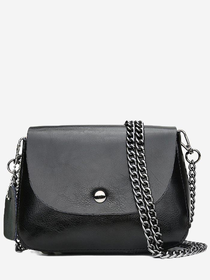Online Retro Faux Leather Minimalist Chain Flapped Crossbody Bag