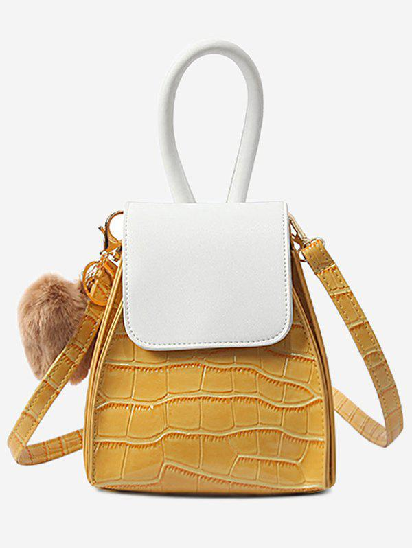 Outfit Pompom Geometric Shaped Color Block Handbag with Strap