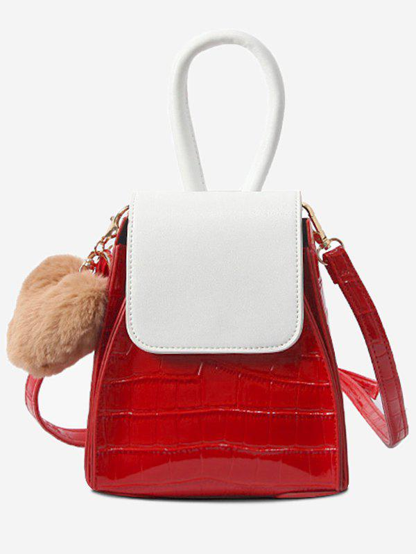 Cheap Pompom Geometric Shaped Color Block Handbag with Strap