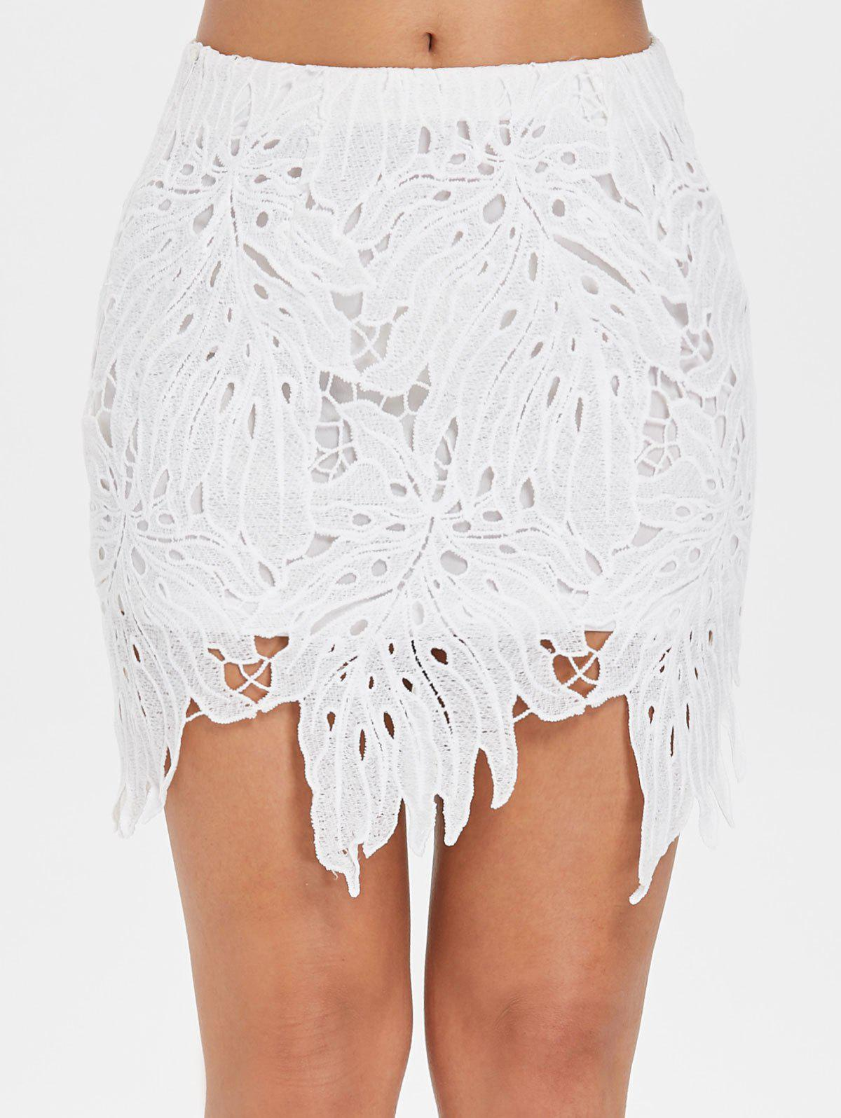 Shops Hollow Out Mini Lace Skirt