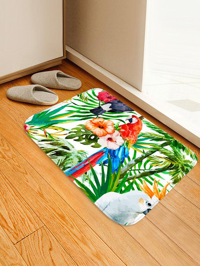 Affordable Uhommi Parrot Rainforest Plants Printed Skidproof Floor Mat