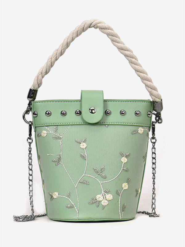 Best Chic Flower Embroidery Studs Handbag