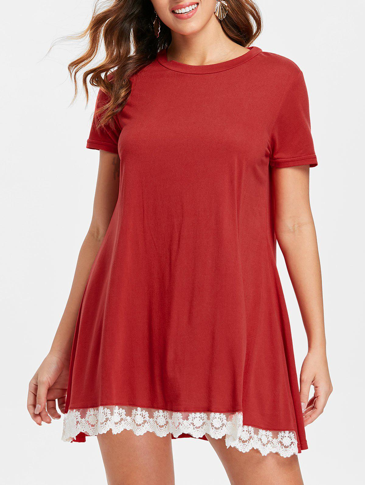 Affordable Lace Hemline Short Sleeve Shift Dress