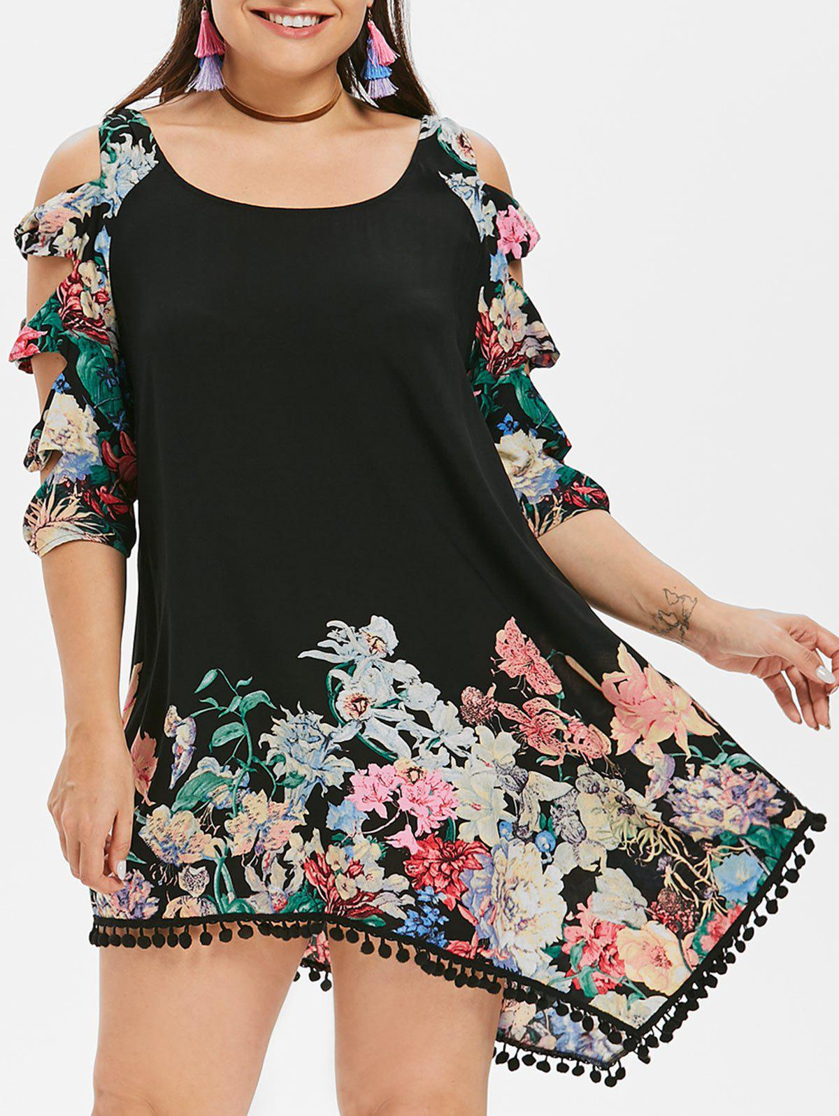 Fashion Plus Size Shredding Cut Floral Tunic Dress