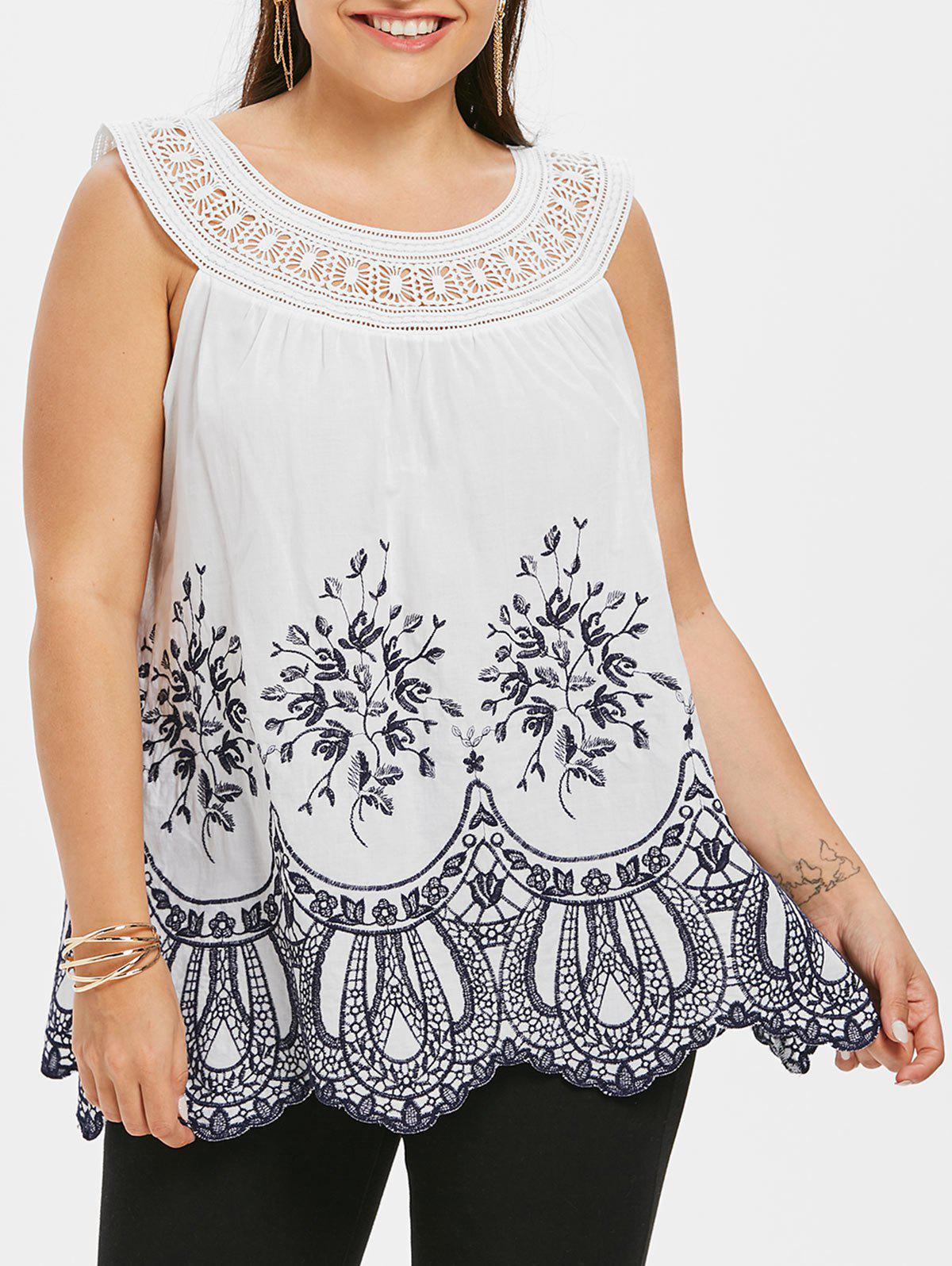 e743f7b6efa 45% OFF  Floral Embroidery Plus Size Crochet Top