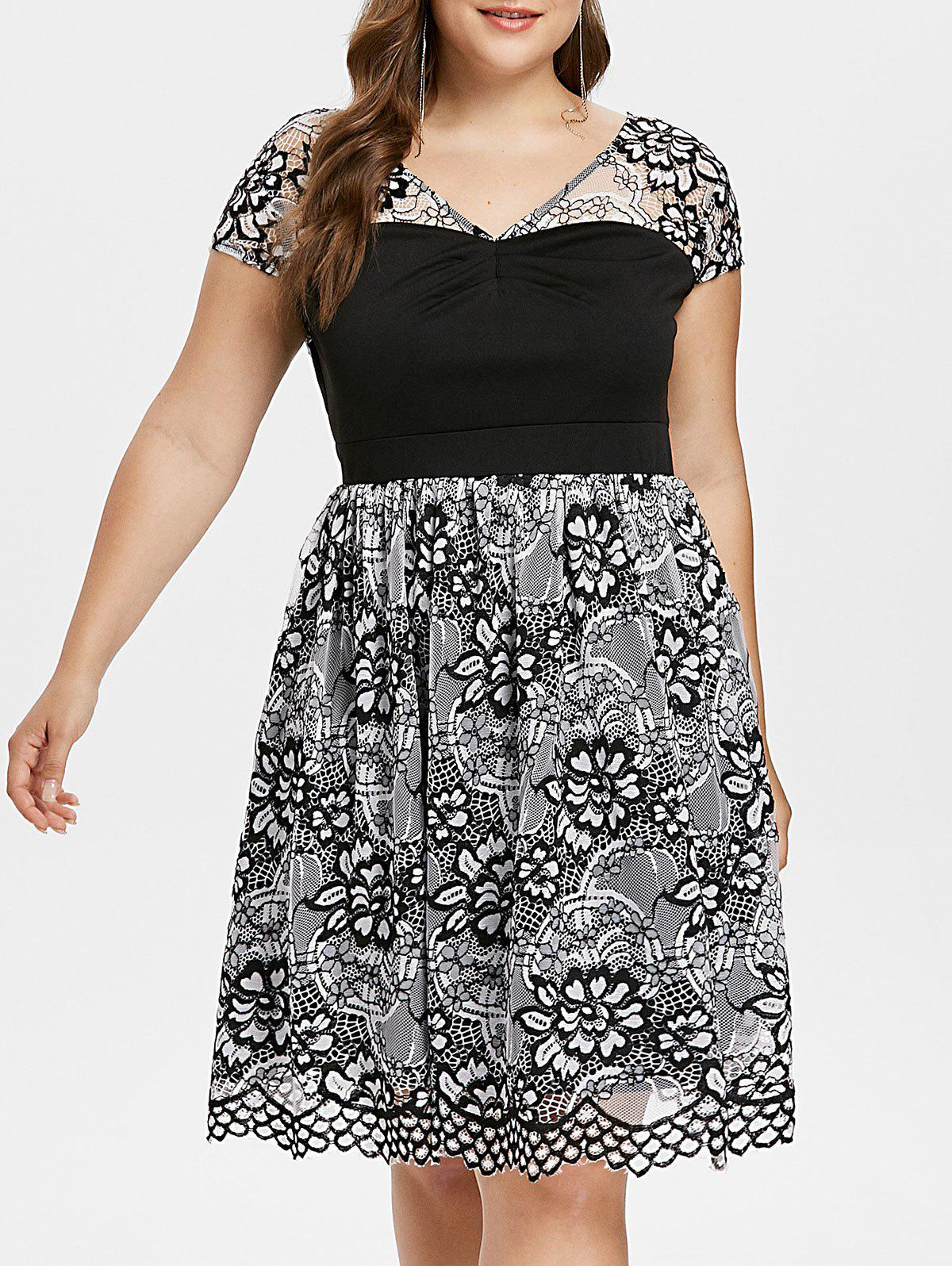 Fancy Plus Size Lace Panel Overlay Dress