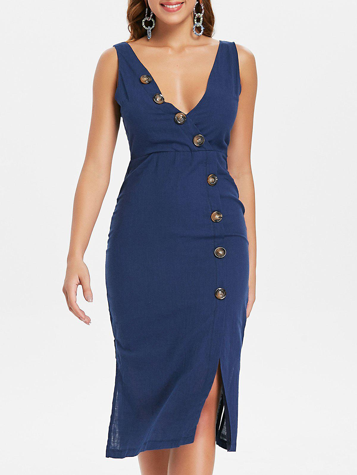 Fancy Button Embellished Plunge Backless Dress