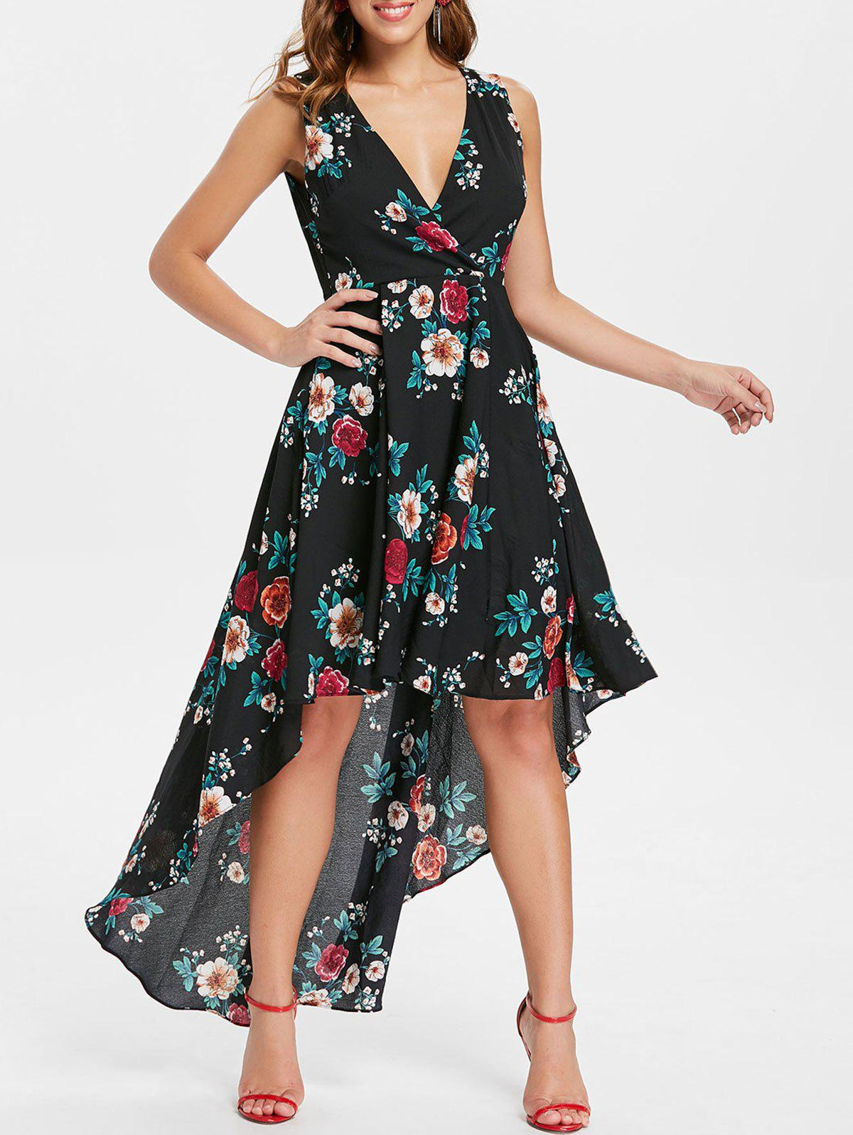 Outfits Plunge Floral High Low Dress
