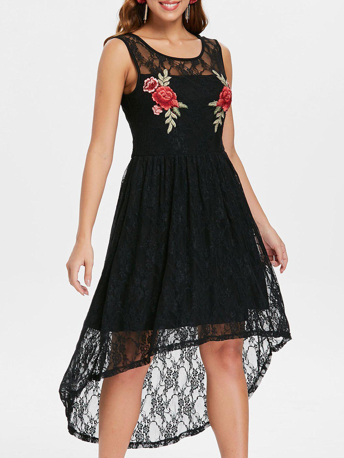 Store Flowered Embroidery High Low Lace Dress
