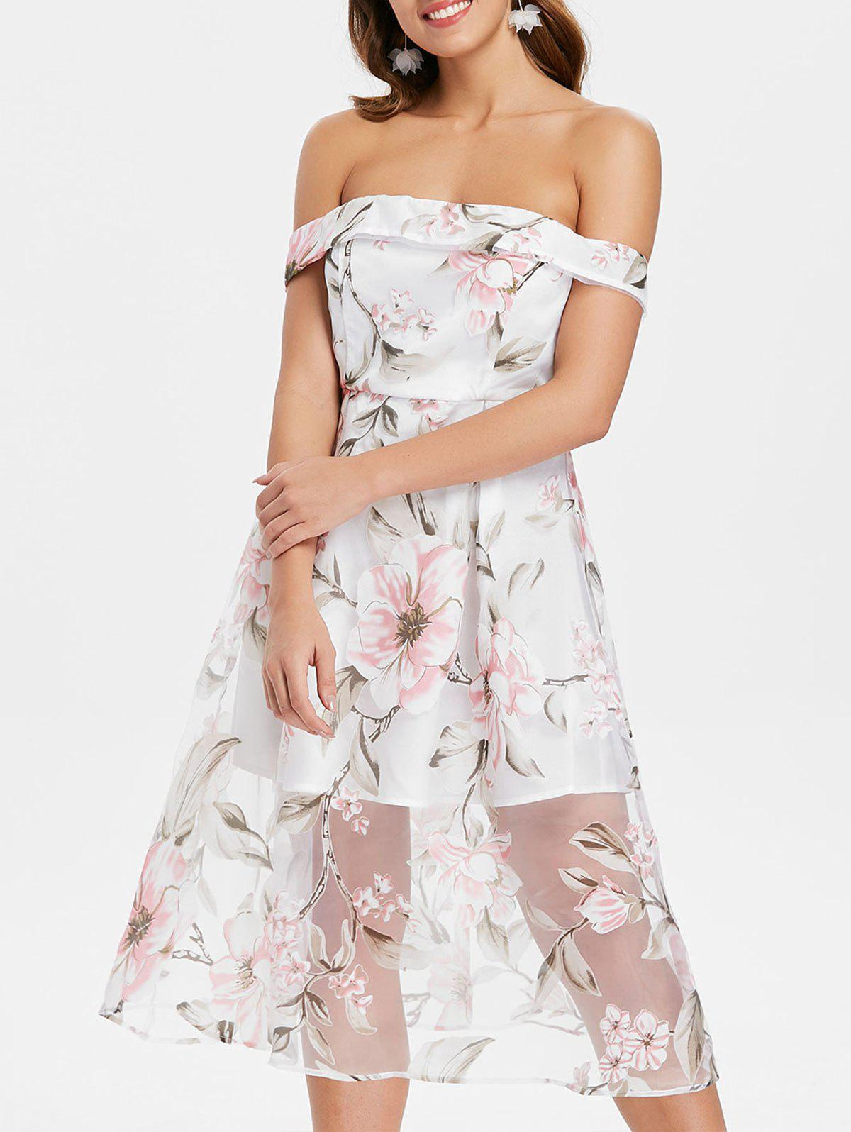 Unique Floral Off The Shoulder A Line Dress