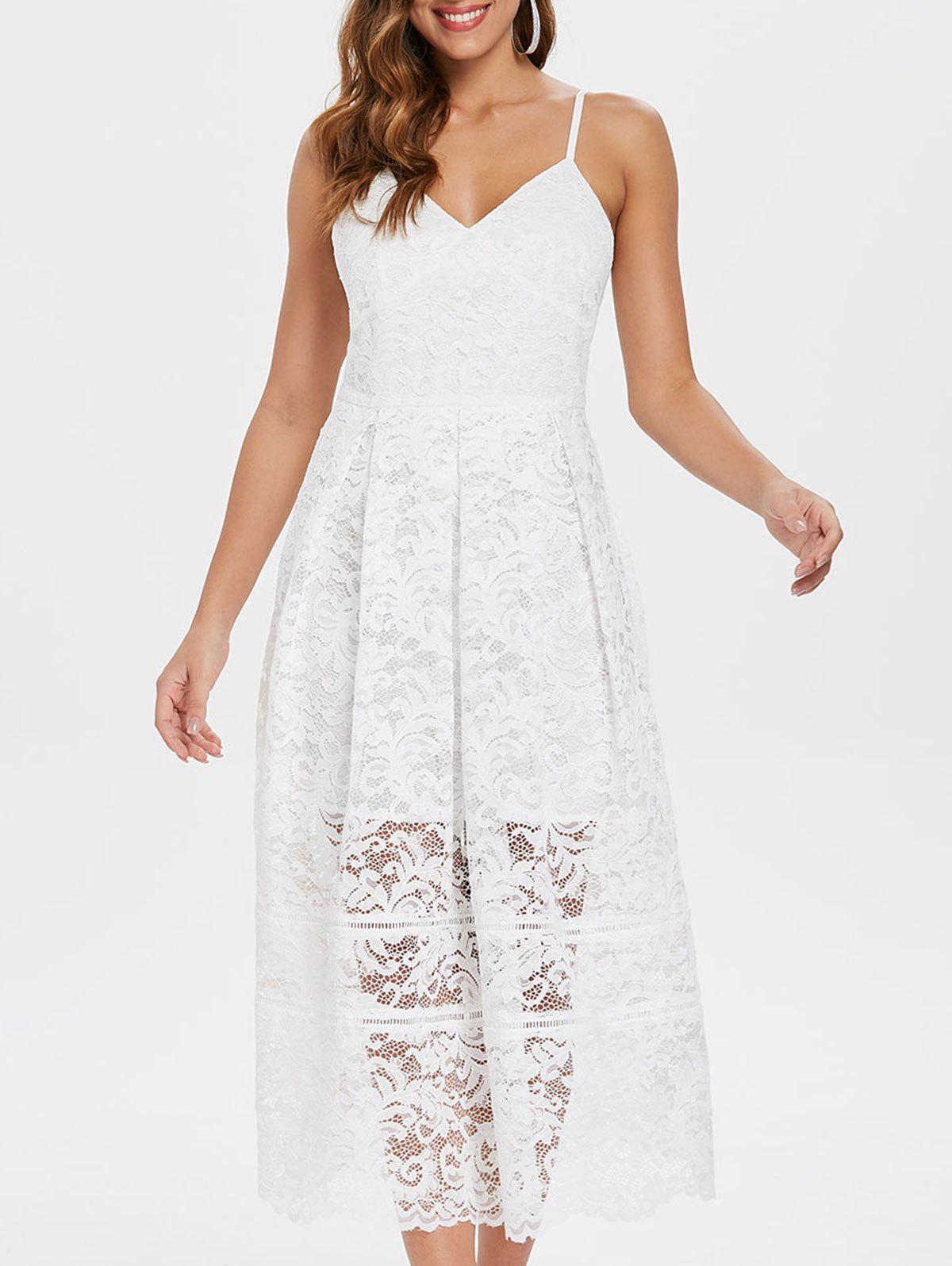 Shops Spaghetti Strap Midi Lace Dress