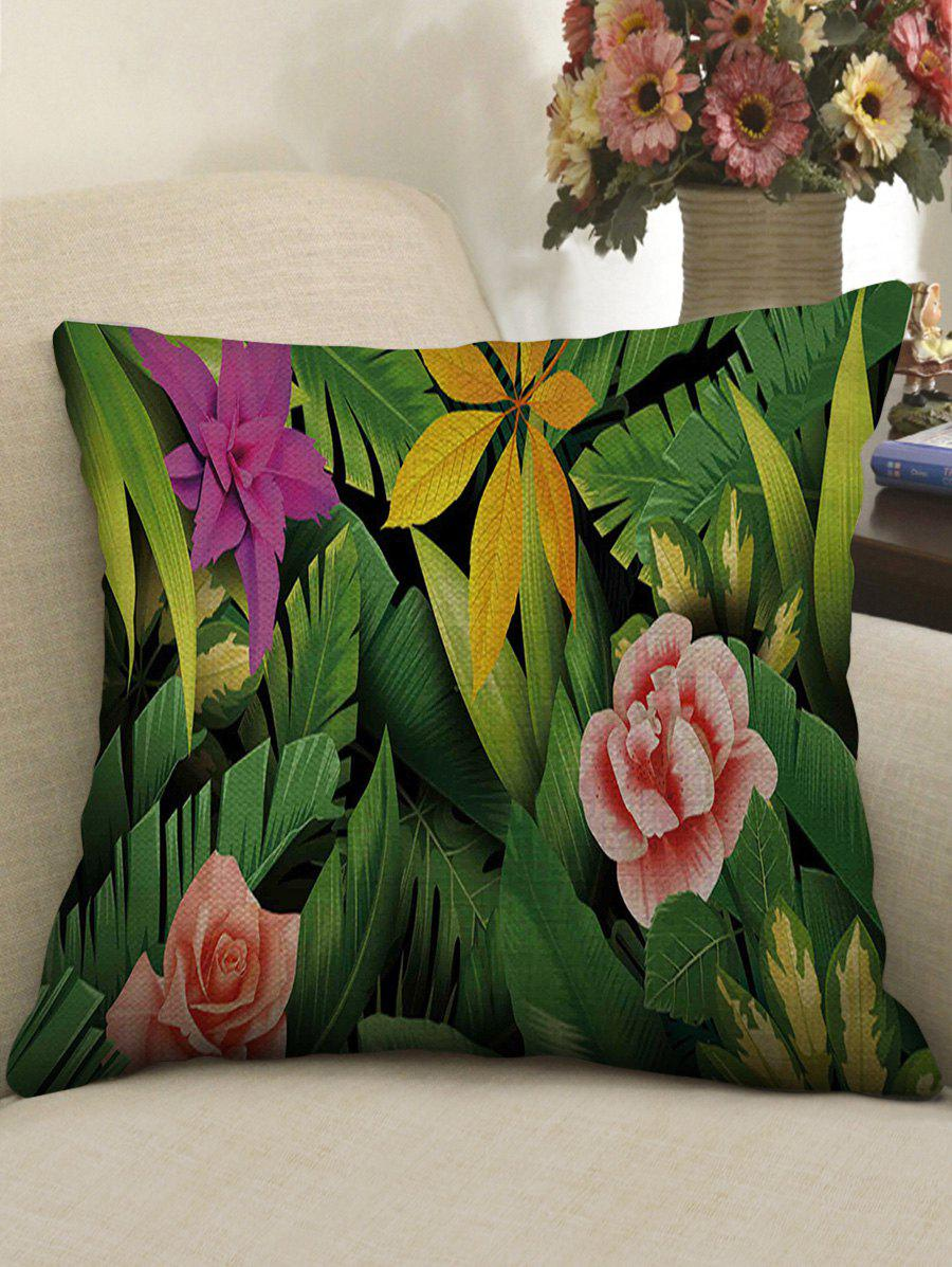 Fancy Tropical Plants Print Decorative Linen Sofa Pillowcase