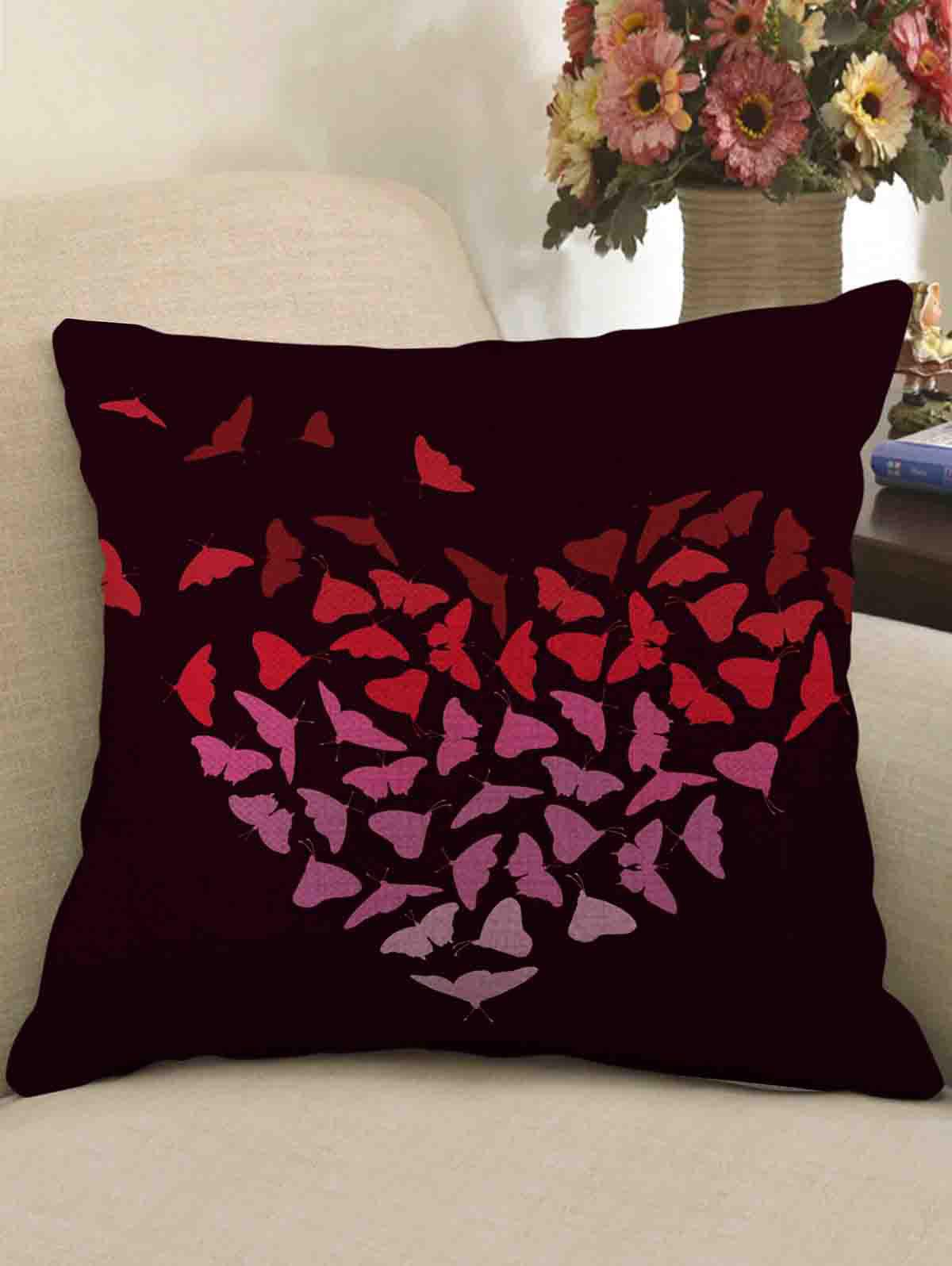 Shops Butterfly Heart Print Decorative Linen Sofa Pillowcase