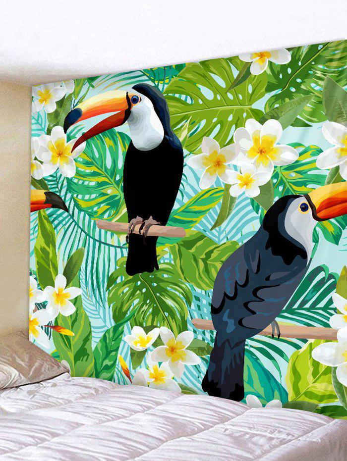 Affordable Tropical Plants Toucan Print Wall Decorative Tapestry