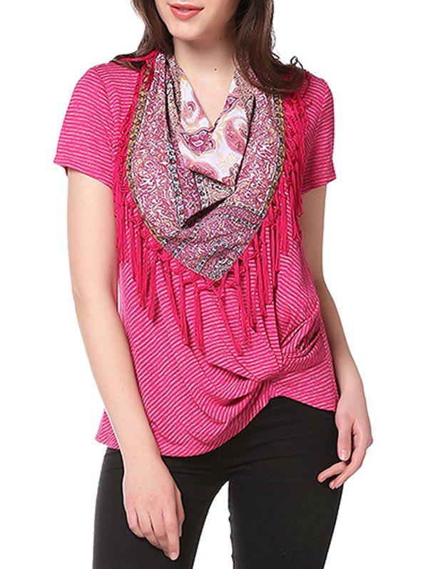Outfits Knotted on Hemline Tee with Matching Scarf