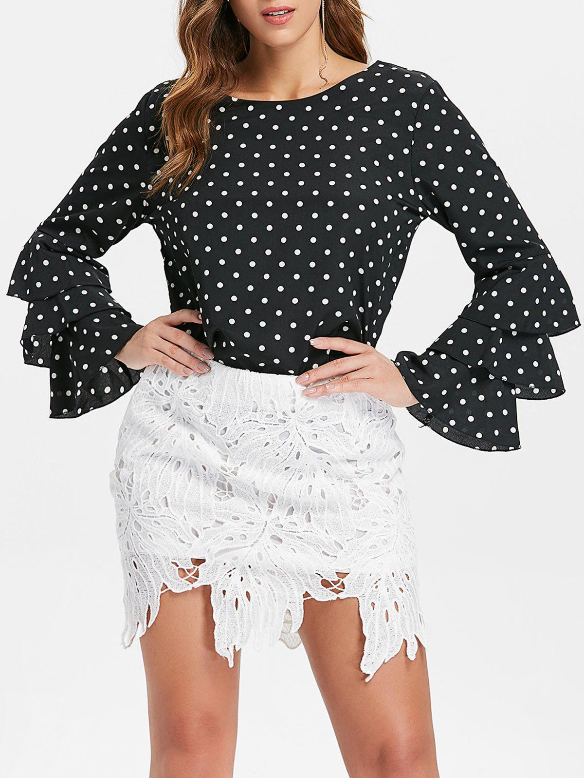 Latest Bell Sleeve Dotted Blouse