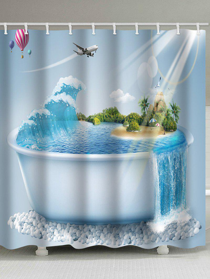 New Bathtub Beach Scenery Printed Bath Decor Shower Curtain