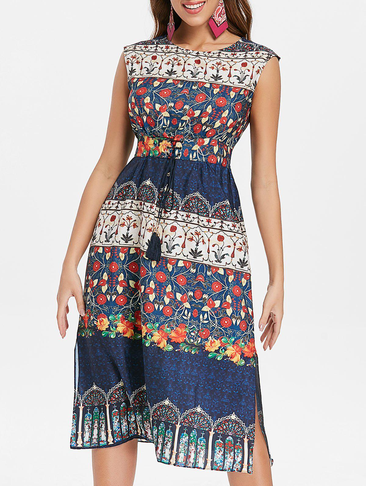 Trendy Lace Up Waist Midi Print Dress