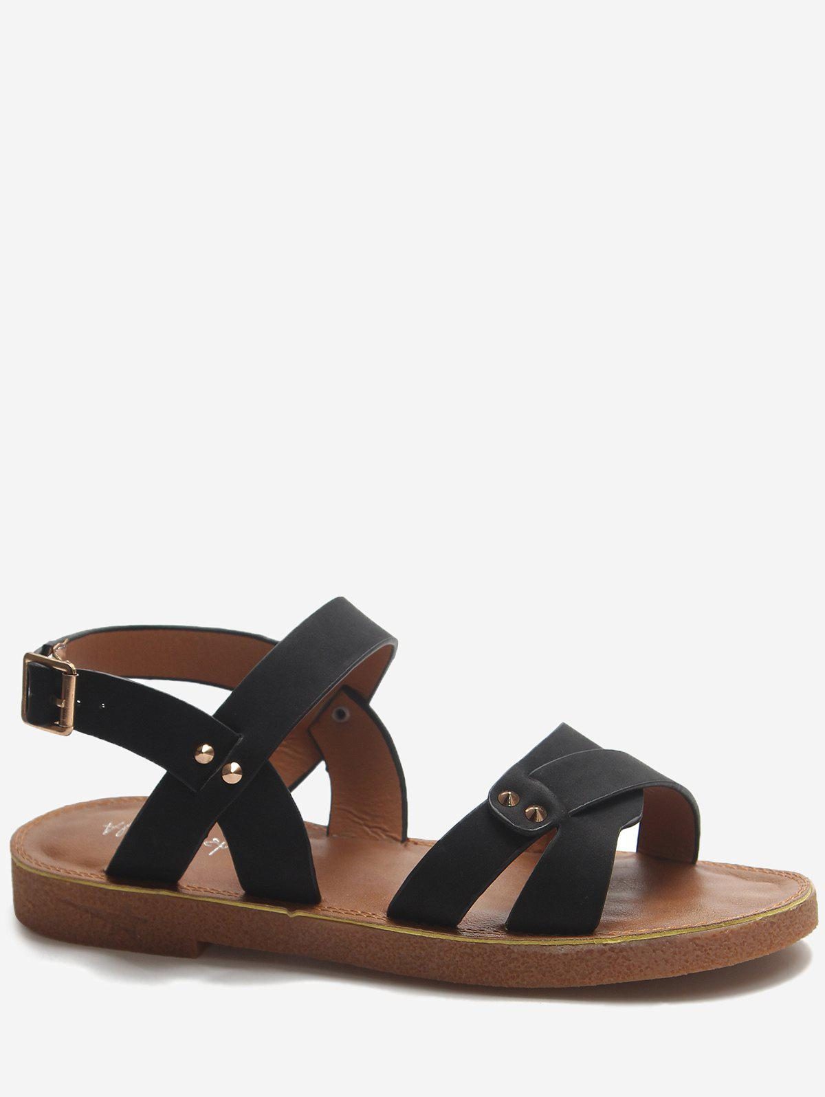 Trendy Low Heel Buckle Strap Crisscross Sandals