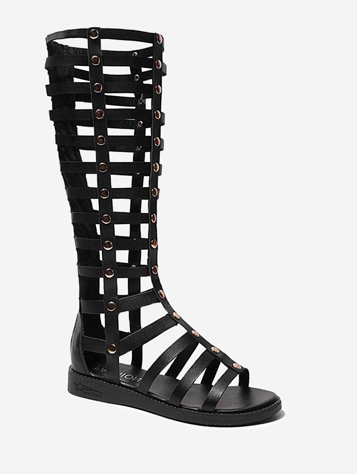 Trendy Strappy Mid Calf Gladiator Chic Sandals