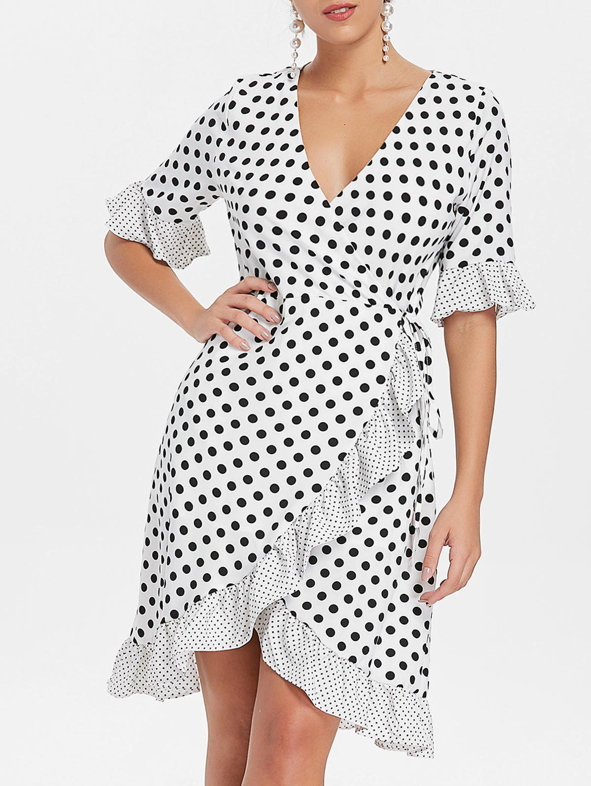 Outfits Bell Sleeves Dotted Flounce Dress