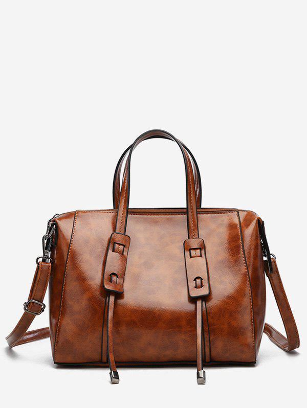 Online Faux Leather Minimalist Vintage Tote Bag with Strap