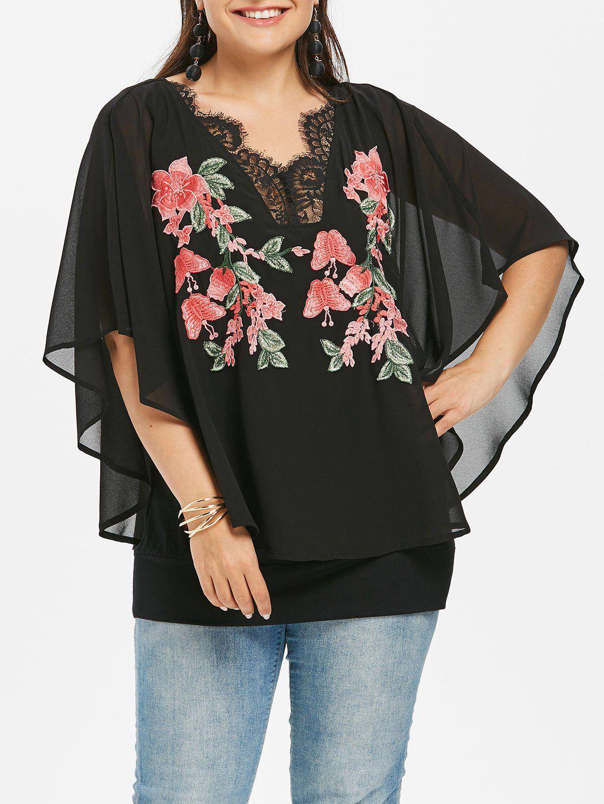 ef7b4edcd5028 62% OFF   2019 Rosegal Plus Size Embroidery V Neck Overlay Blouse ...