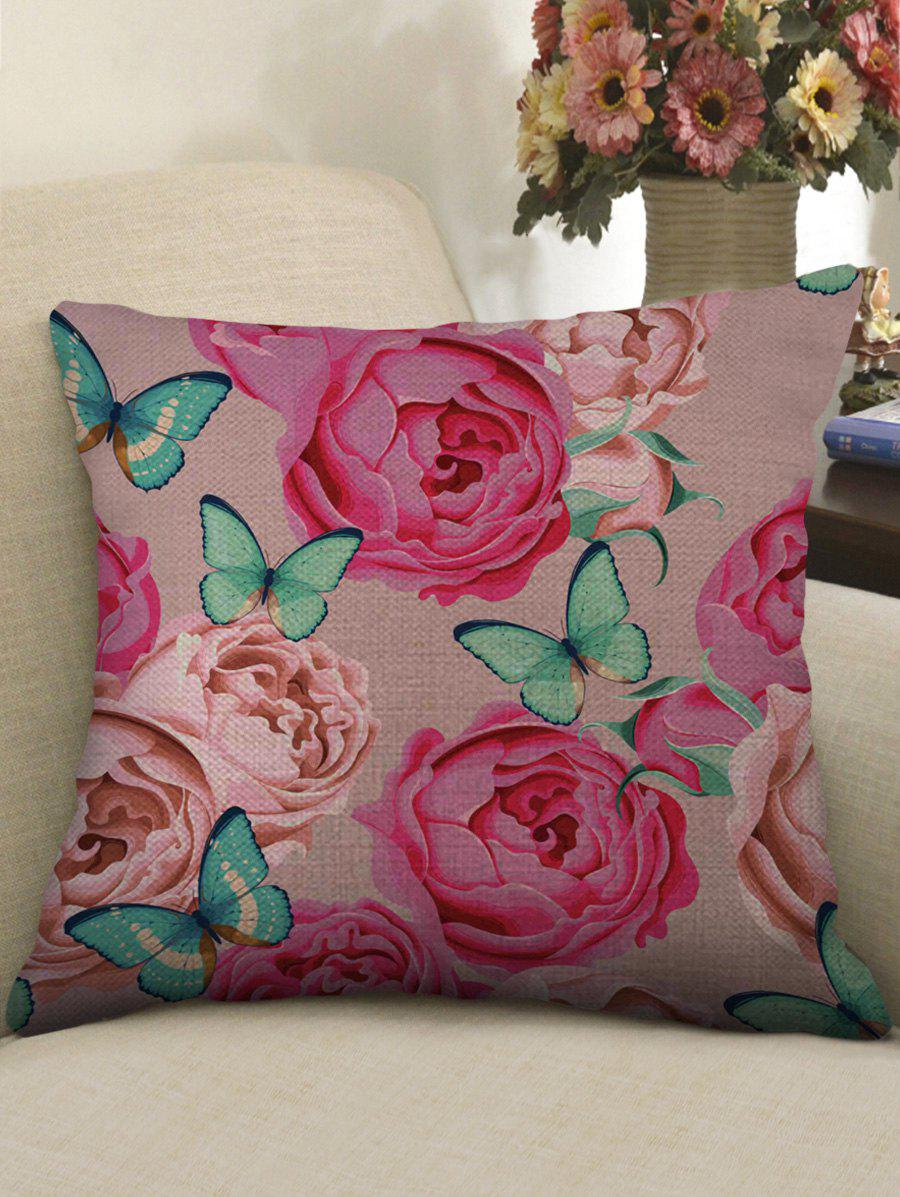 Fashion Butterfly and Flowers Print Decorative Linen Sofa Pillowcase