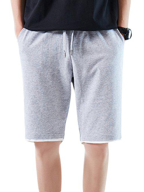 Buy Elastic Waist Layered Hem Casual Shorts