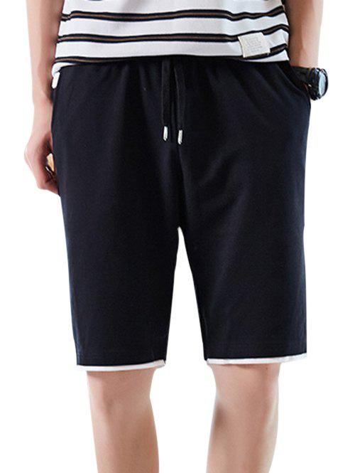 Discount Elastic Waist Layered Hem Casual Shorts