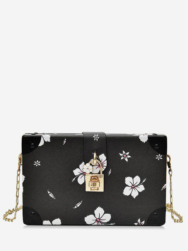 Cheap Chic Flower Print Square Metal Chain Crossbody Bag