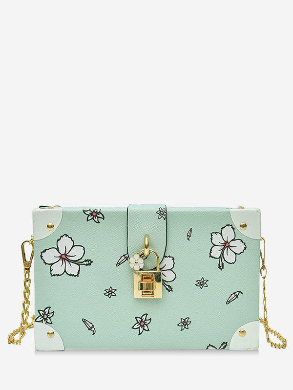 Online Chic Flower Print Square Metal Chain Crossbody Bag