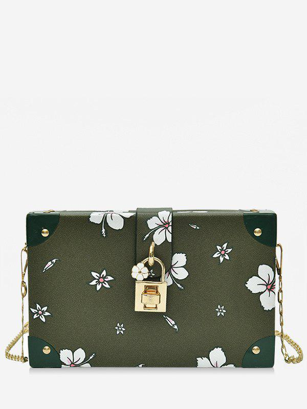 Unique Chic Flower Print Square Metal Chain Crossbody Bag