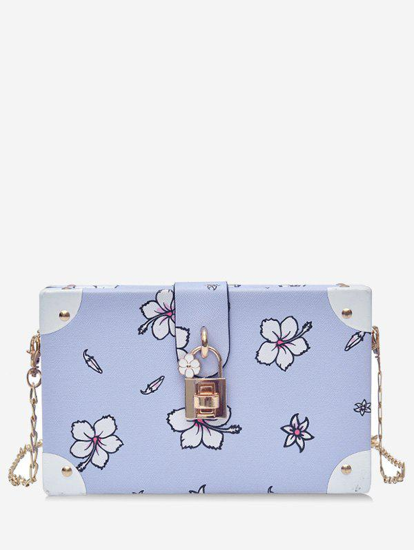 Sale Chic Flower Print Square Metal Chain Crossbody Bag