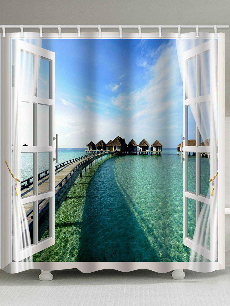 Discount Sea View outside Window Printed Bathroom Shower Curtain