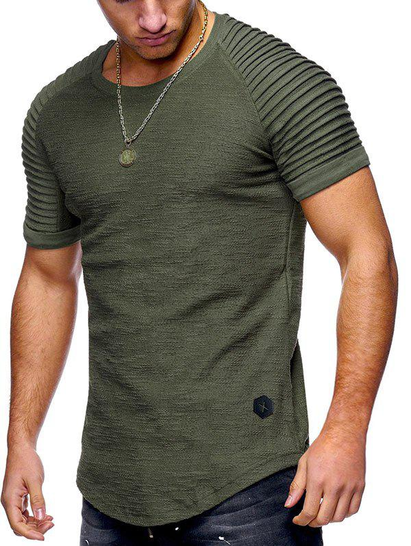 Store Solid Color Pleated Sleeve Curved Hem T-shirt