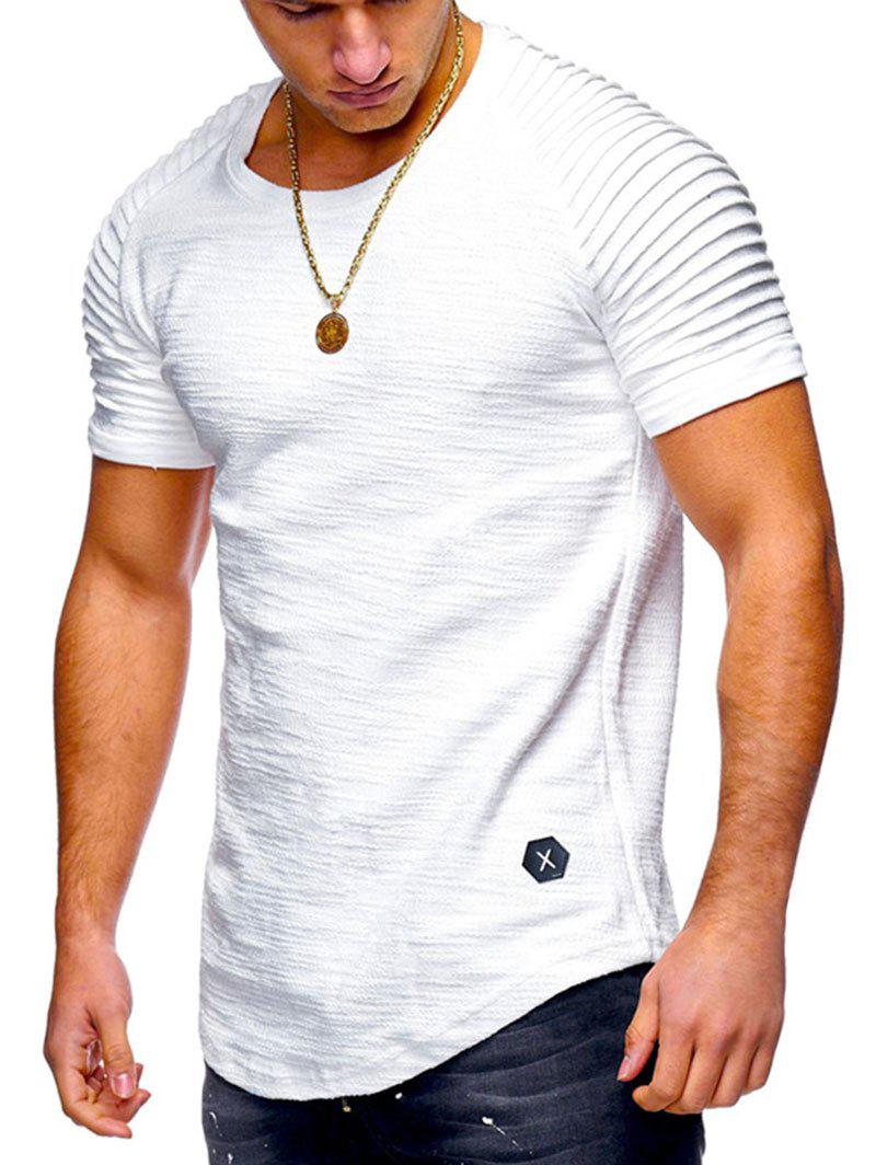 Buy Solid Color Pleated Sleeve Curved Hem T-shirt
