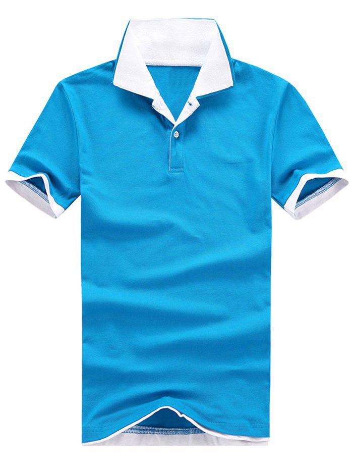 Unique Two Tone Layered Polo Collar T-shirt
