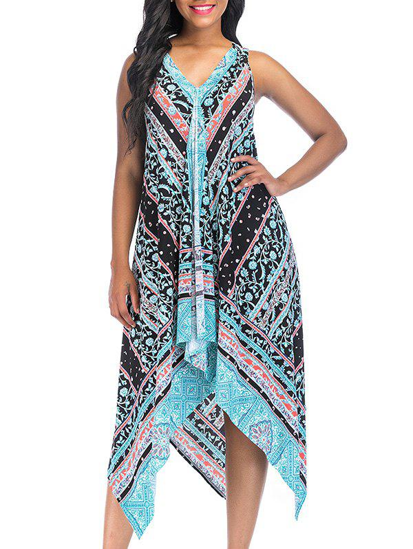 Latest Vintage Printed Asymmetric V Neck Dress