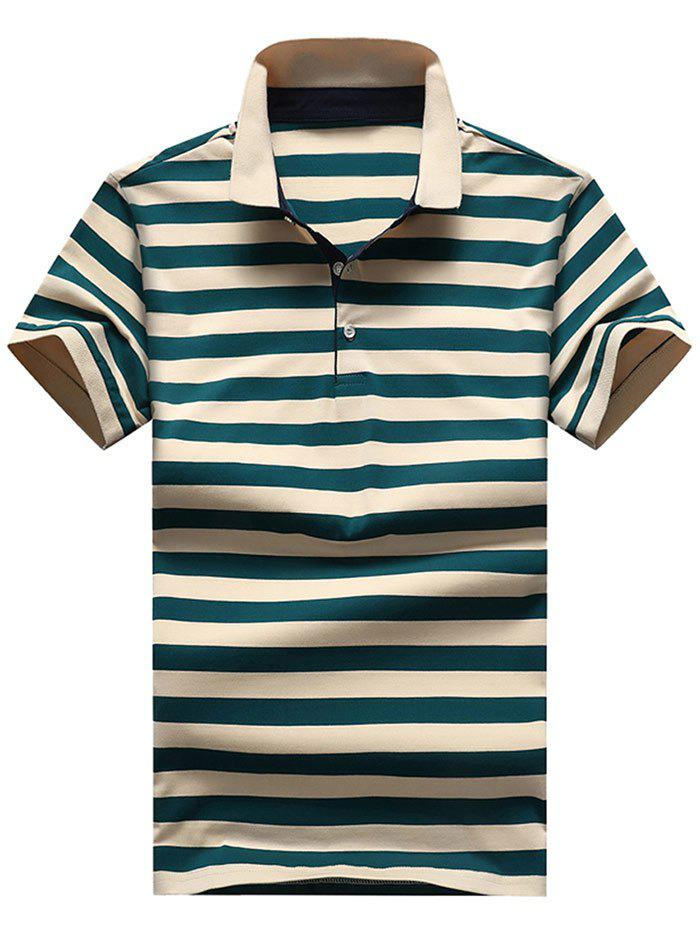 Trendy Slim Fit Ribbed Stripe Print Polo T-shirt