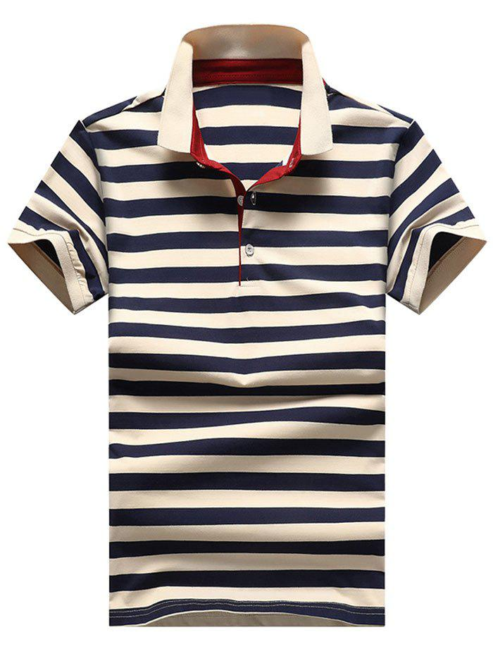 Best Slim Fit Ribbed Stripe Print Polo T-shirt