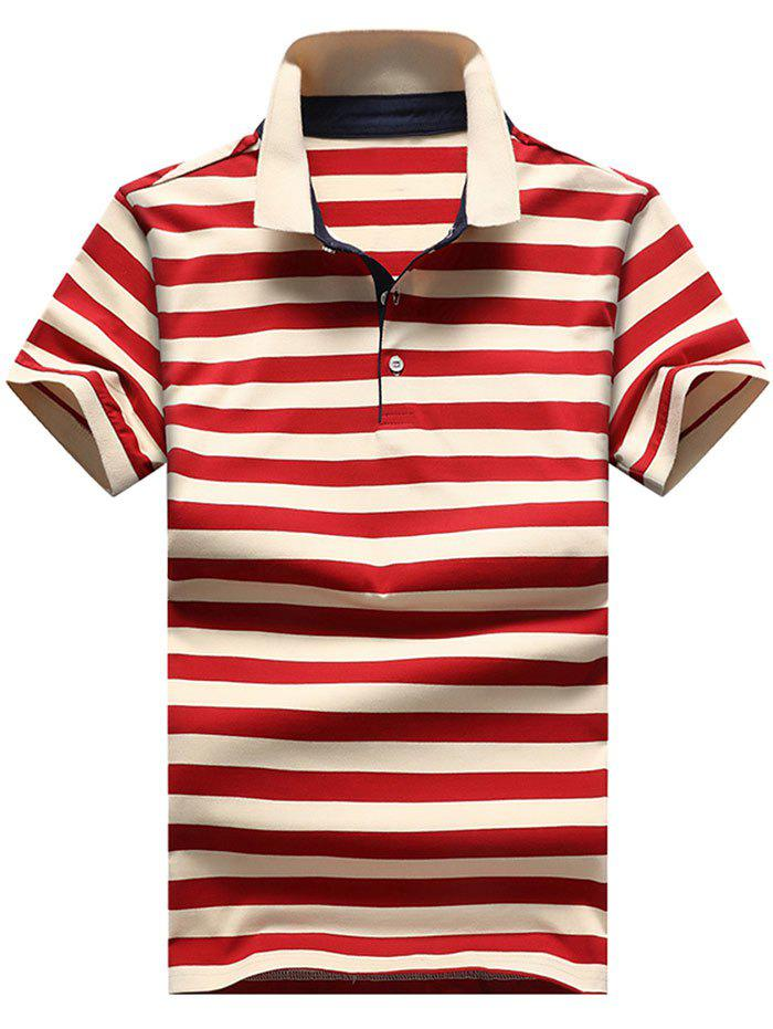 Unique Slim Fit Ribbed Stripe Print Polo T-shirt