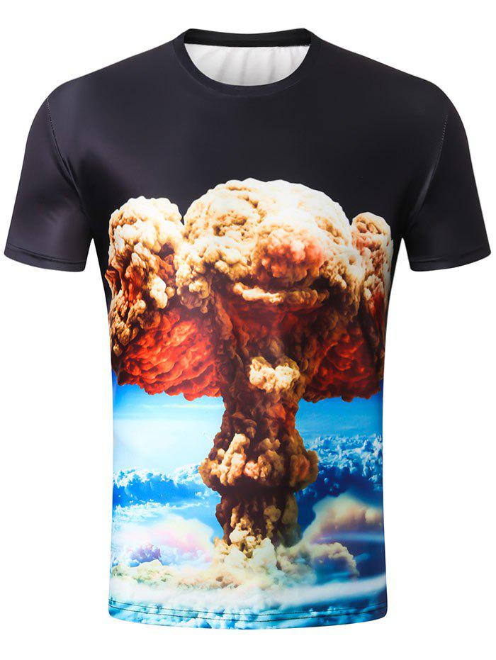 Unique Short Sleeve 3D Mushroom Cloud Print Tee