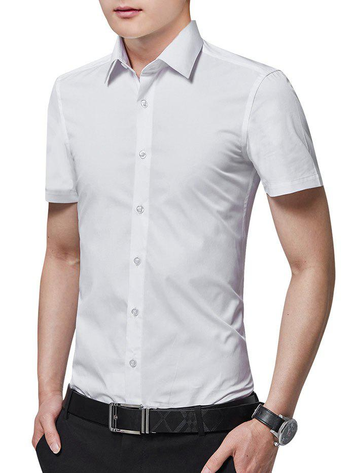 Store Turn Down Collar Solid Color Business Shirt