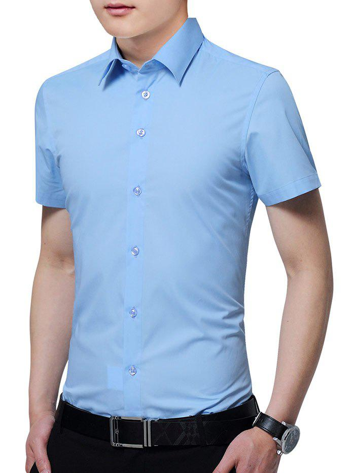 Cheap Turn Down Collar Solid Color Business Shirt