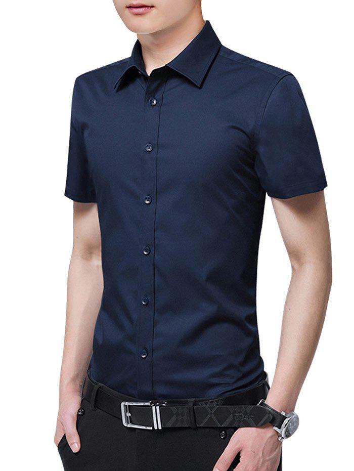 Sale Button Up Solid Color Slim Fit Shirt