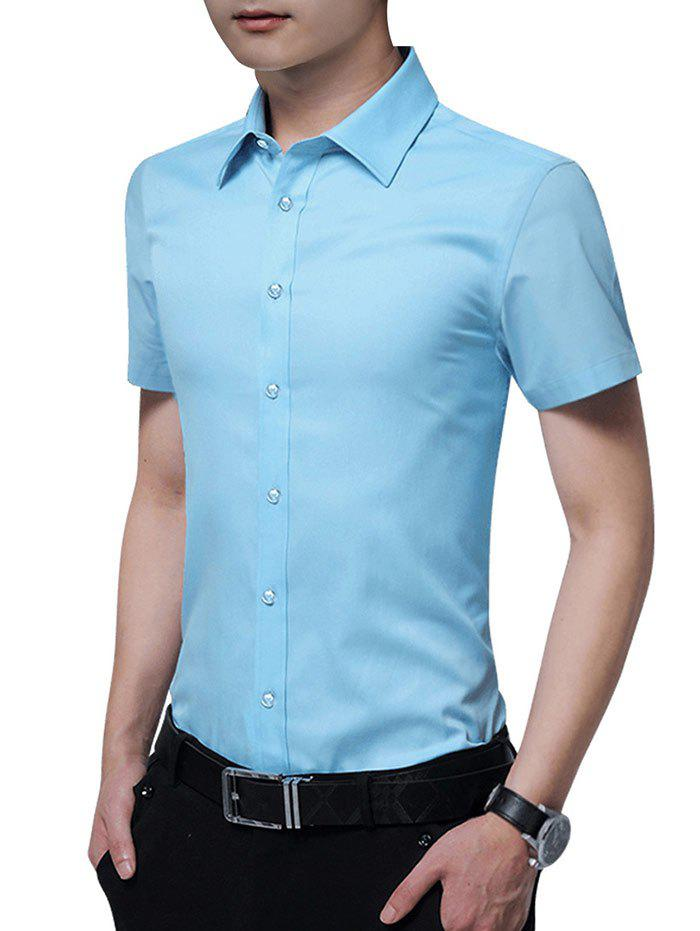 Fancy Button Up Solid Color Slim Fit Shirt