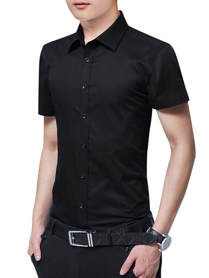 Chic Button Up Solid Color Slim Fit Shirt