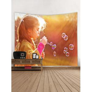Blowing Bubbles Girl Pattern Tapestry Wall Hanging Decor -